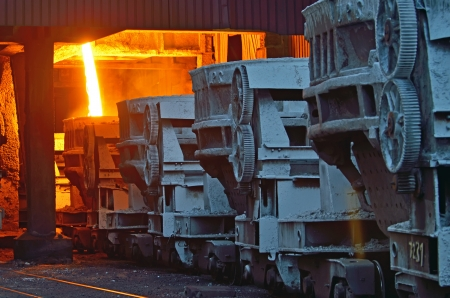 steel buckets to transport the molten metal inside of plant Stock Photo - 20423822