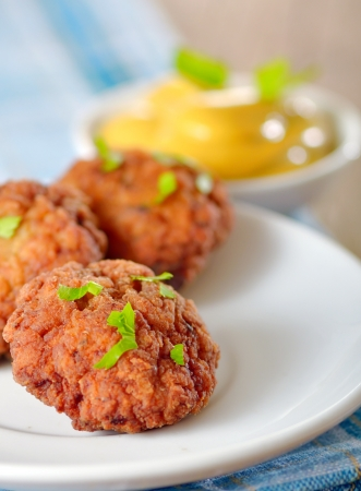 details of meatballs on plate and mustard Stock Photo - 20764363