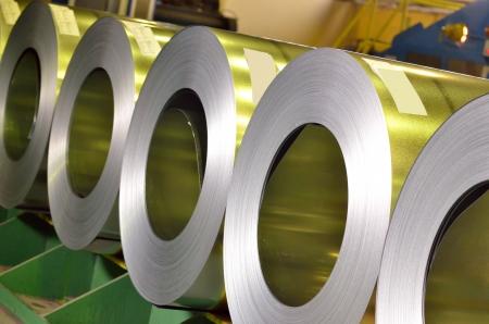 treadplate: rolls of steel sheet inside of plant