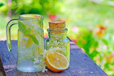 Elderflower and lemon juice shoot in garden photo