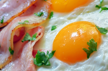 bacon and eggs: breakfast with bacon and eggs shoot in studio Stock Photo