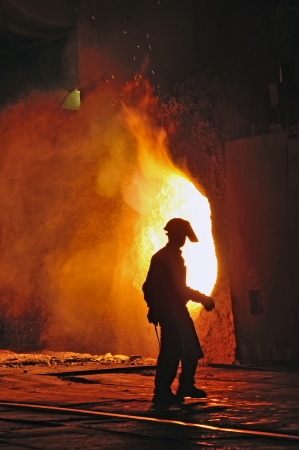 worker with hot steel inside of plant Stock Photo - 20764447