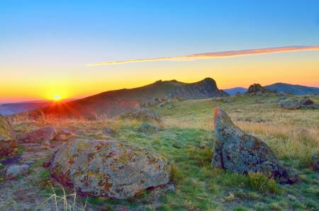 Beautiful summer landscape in the hills. Sunrise Stock Photo - 20764479