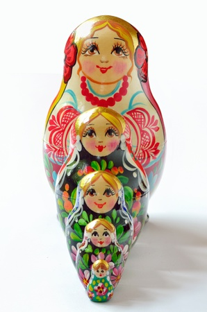 russian doll babushka stacking in studio photo