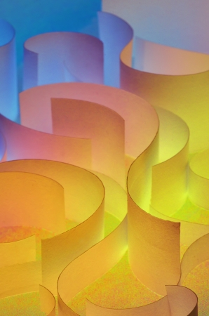 colorful curved sheets of paper shoot in studio Stock Photo - 21451613