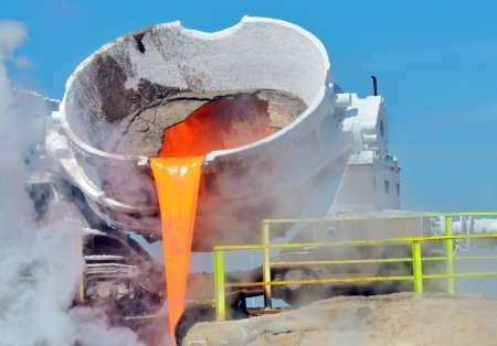 Steel buckets to transport the molten metal inside of plant Stock Photo - 21451811