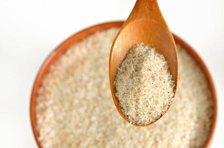 psyllium zaad kaf - voedingssupplement, bron van oplosbare vezels Stockfoto