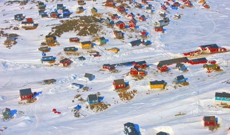 Colorful houses in the Kulusuk village, Greenland photo