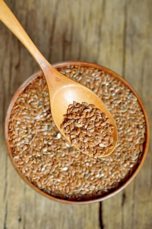 flax seeds shoot on wood in studio Stock Photo - 21885628