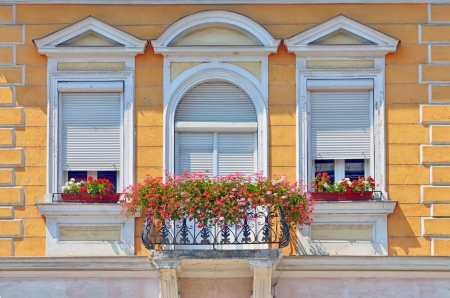 balcony with flowers pots in summer time photo