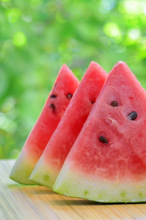 Sliced watermelon on a plate in nature