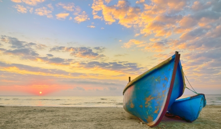 Boats at sunrise time on Black Sea Stock Photo - 21885684