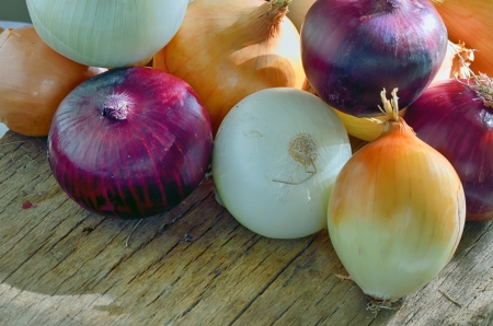 different kinds of onions in closeup on wooden table Stock Photo - 22116455