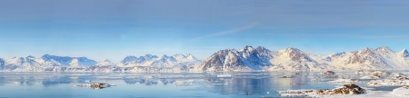 arctic landscape: Greenland panorama shoot in spring time