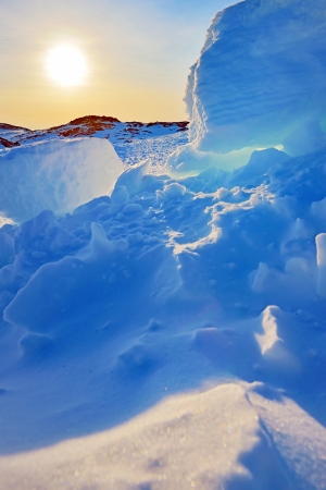 landscape greenland sunset and glacier Stock Photo - 23000553