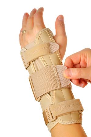 Klittenband op een carpaal tunnel Ondersteuning Wrist Brace