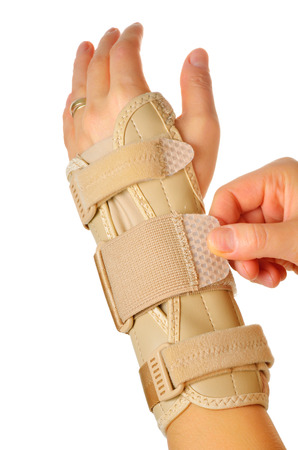 carpal tunnel: Velcro Straps on a Carpal Tunnel Support Wrist Brace