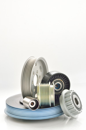 types of roller and timing belt transmission isolated Stock Photo