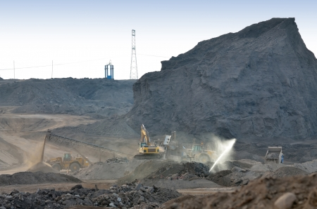 Dump of the coal mine and equipment Stock Photo - 24388063