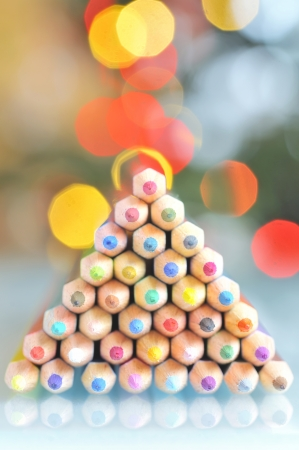 christmas tree pencils and lights Stock Photo - 24388137