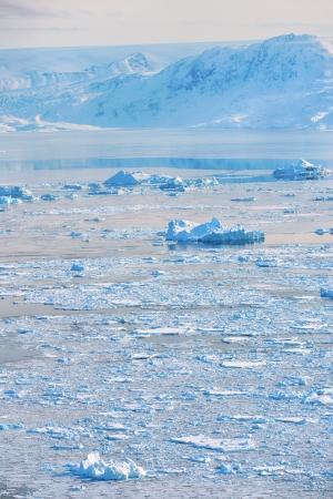 disintegrating: iceberg in spring time in greenland