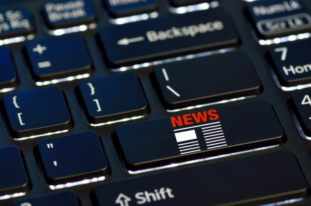 concept news icon on enter key of keyboard Stock Photo