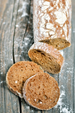 baked traditional bread and flour