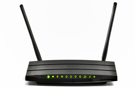 Wireless gigabit broadband router isolated Stock Photo