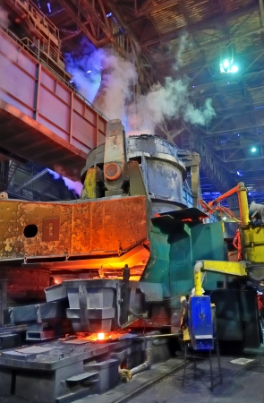 Pouring of liquid metal; steel plant Editorial