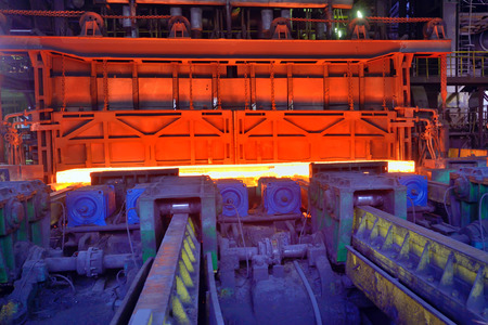Hot steel from oven at the hot rolling mill