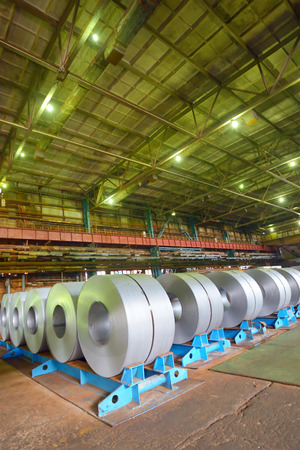 galvanized steel coil in a warehouse Banco de Imagens