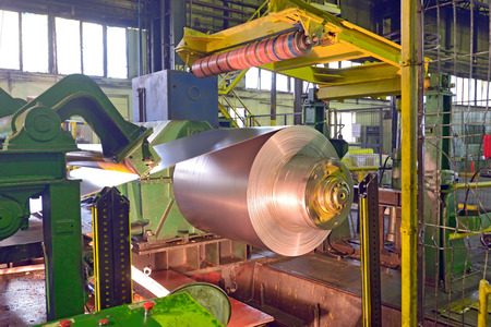 steel coil processing machine inside of steel  plant photo
