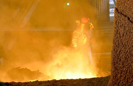 steel making: Industrial worker in steel making factory