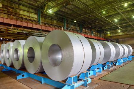 treadplate: rolls of steel sheet in a plant