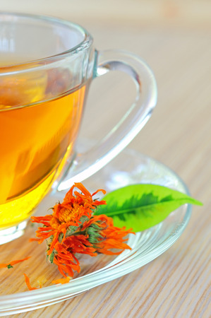 antiseptic: marigold herbal tea in glass cup