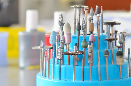 drills: Burs, polishers, drills and brushes in a dental lab