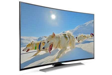 新しいタイプの曲線スマート テレビ 写真素材