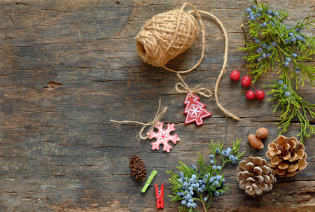 Christmas Decoration Over Wooden  photo