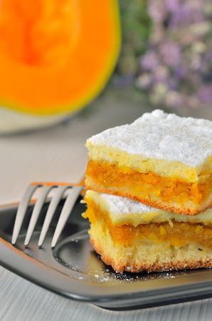 slices of homemade pumpkin cake photo