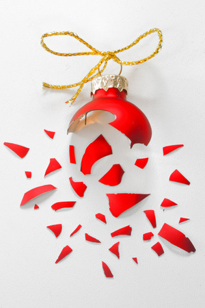 smithereens: Broken Red Christmas tree ball isolated