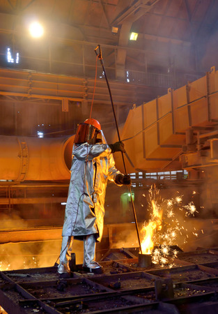 foundry: Working in a foundry at a steel plant
