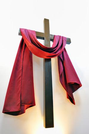 christ is risen easter: cross on white