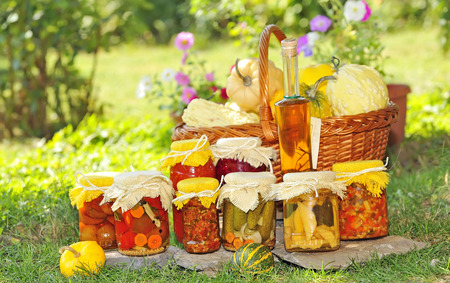 fibber: Vegetable preserves placed on the grass in the garden