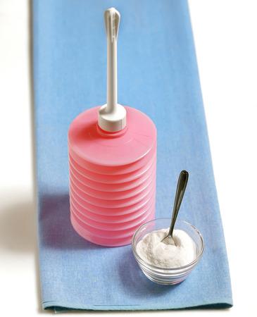 irrigator: Vaginal irrigator set and bicarbonate; Vaginal douche Stock Photo