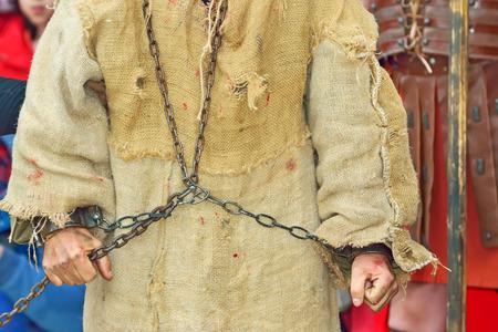 Romeinse soldaat en handboeien gevangene Stockfoto - 35925718