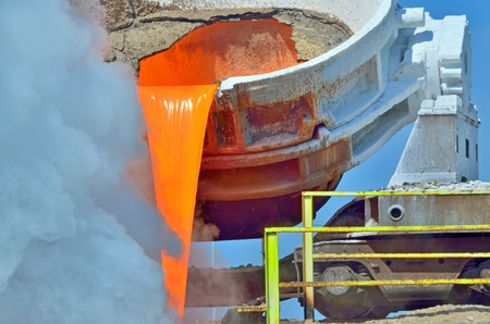 slag: The molten steel is poured into the slag dump
