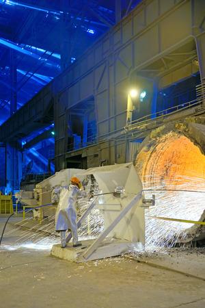 Clean Ladle of molten steel inside of steel plant