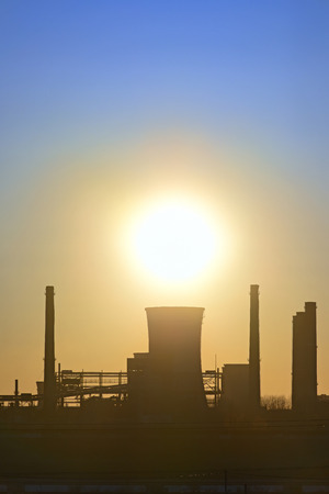 galati: silhouette of industrial factory at sunset, Arcelor Mittal Galati Stock Photo
