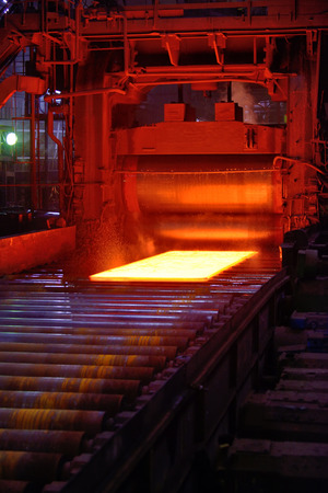 red hot iron: hot steel on conveyor