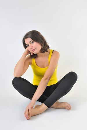 portrait of a pretty sporty woman in studio Stock Photo